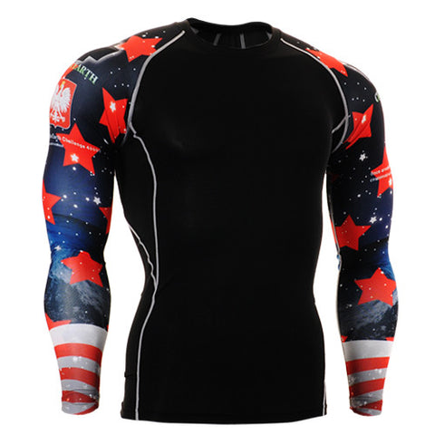 Red Stars on Earth Life Track Compression Long Sleeve