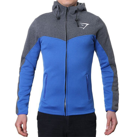 Blue Gymshark Fitness Hoodies Sweatshirts Men's Sportswear