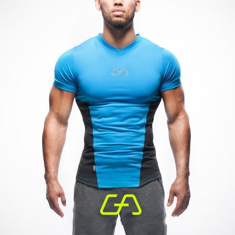 Men's Blue Casual Stretch Top Fitness T-shirt