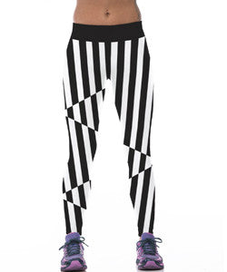 Crazy Black and White Striped Leggings for Women
