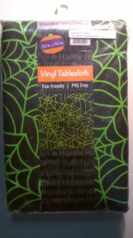 "52"" x 90"" Spiderweb Vinyl Table Cloth for Halloween"