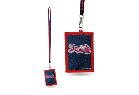 Atlanta Braves MLB Lanyard ID Holder With Zippered Compartment