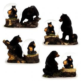 4 Bear Water Globe Figurines Set