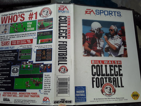 Bill Walsh College Football With Case Used Sega Genesis Video Game