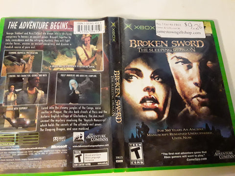 Broken Sword The Sleeping Dragon Used Original Xbox Video Game