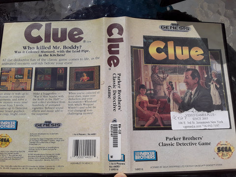 Clue With Case Used Sega Genesis Video Game