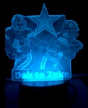 Dak Prescott To Zeke Elliot Dallas Cowboys NFL Color Changing LED Night Light
