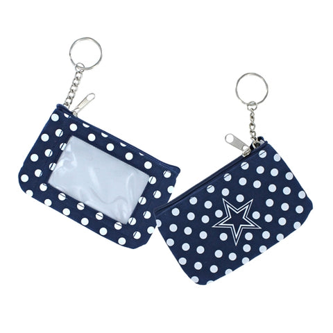 Dallas Cowboys NFL Nylon Polka Dot Coin Purse Key Ring