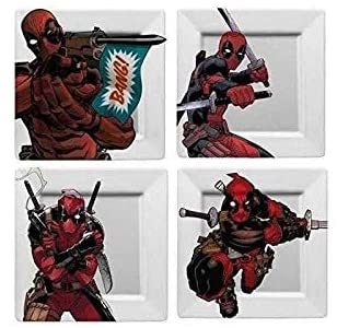 Deadpool 4 Plate Set 8x8 Each DO NOT MICROWAVE