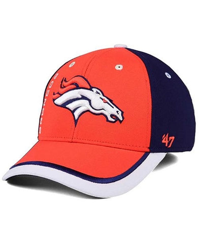 Denver Broncos NFL Crash Line Contender Stretch Fit Baseball Cap Hat 47 Brand
