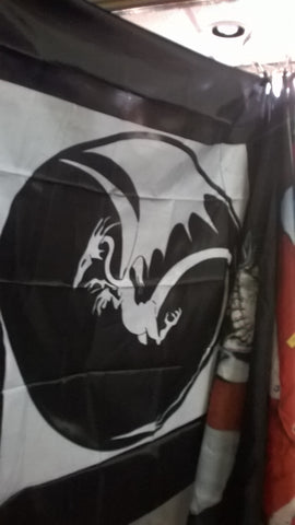 Dragon Black and White 45 x 45 Cloth Wall Banner