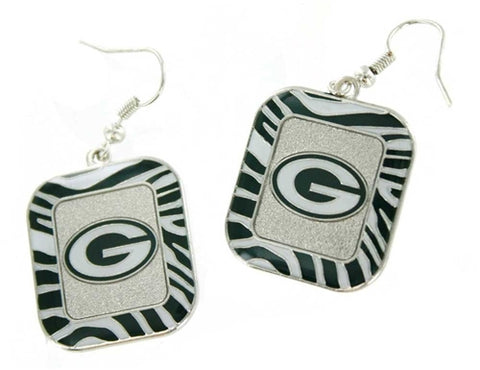 Green Bay Packers NFL Zebra Stripes Dangle Earring