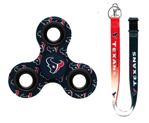 Houston Texans NFL 2 Item Fidget Spinner & Lanyard keychain Bundle