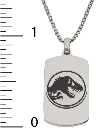 Jurassic World Men's Stainless Steel Logo Dog Tag Pendant 22 Inchh Chain