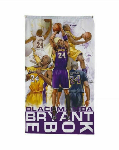 Kobe Brayant 3x5 NBA Flag 24 Black Mamba Los Angeles Lakers