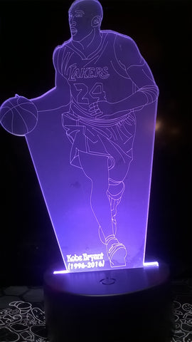 Kobe Bryant Los Angeles Lakers NBA Dribbling Changing LED Night Light