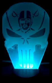 Las Vegas Raiders NFL Punisher Skull Color Changing LED Night Light