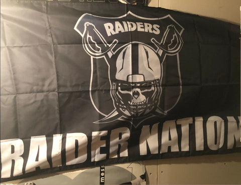 Las Vegas Raiders Nation NFL Swords Flag 3ft x 5ft Polyester