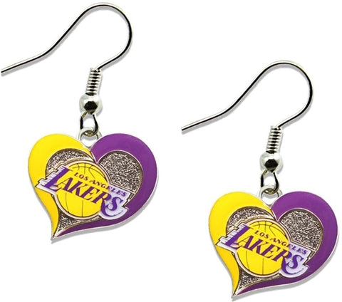 Los Angeles Lakers NBA Silver Swirl Heart Dangle Earrings