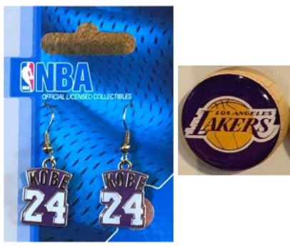 Los Angeles Lakers 2 Items Bundle Kobe Bryant NBA Jersey Earrings + Lakers Magnet
