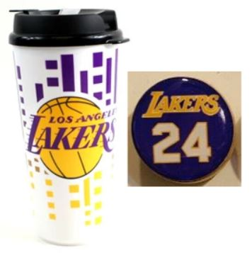 Los Angeles Lakers 2 Items Bundle Kobe Bryant #24 Small Magnet & 32Oz NBA Travel Mug Cup