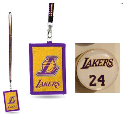 Los Angeles Lakers NBA 2 Items Bundle Kobe Bryant Magnet & Lanyard ID Holder With Zippered Compartment
