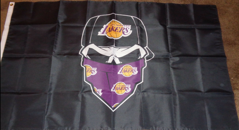 Los Angeles Lakers Masked Skull 3x5 NBA Flag