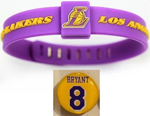 Los Angeles Lakers 2 Items Bundle Kobe Bryant Magnet + Adjustable Silicone NBA Bracelet