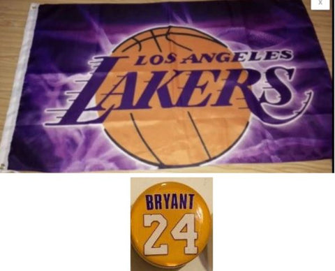 Los Angeles Lakers 2 Items Bundle Purple 3x5 NBA Flag + Kobe Bryant Magnet