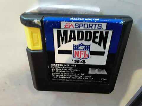 Madden 94 Football 1994 Used Sega Genesis Video Game Cartridge