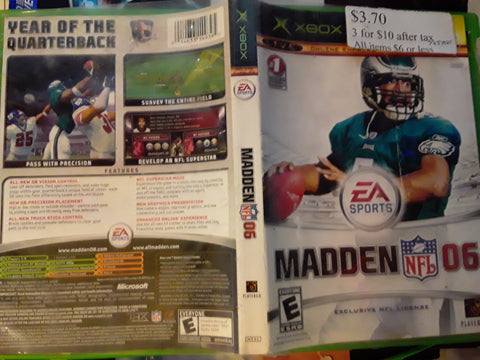 Madden NFL 06 Football 2006 Used Original Xbox Video Game