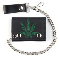 Marijuana Pot Leaf Chain Leather Wallet
