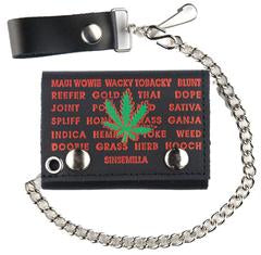 Marijuana Strains Chain Leather Wallet