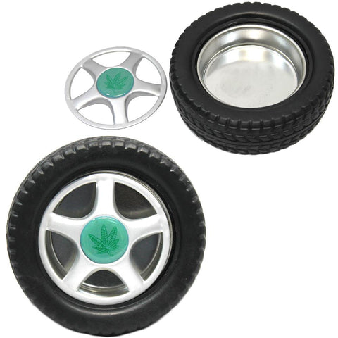 Marijuana 5x5x1 Tire Shaped Large Ashtray With Removable Top
