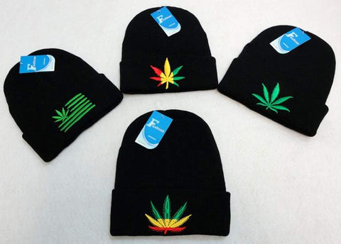 Marijuana Pot Leaf Cuffed Winter Beanies Multiple Designs