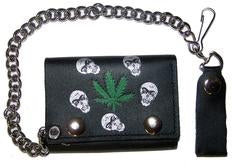 Marijuana Skulls Chain Leather Wallet