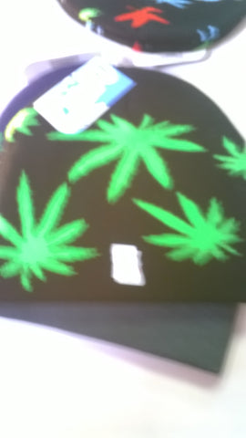 Marijuana Beanies with Pot Leaves in Various Colors