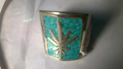 Marijuana Biker Ring w Pot Leaf in Blue Square Size 8