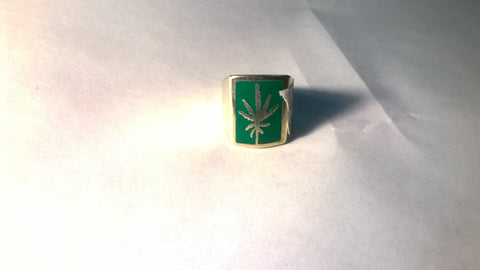 Marijuana Biker Ring w Pot Leaf in Green Square Size 8