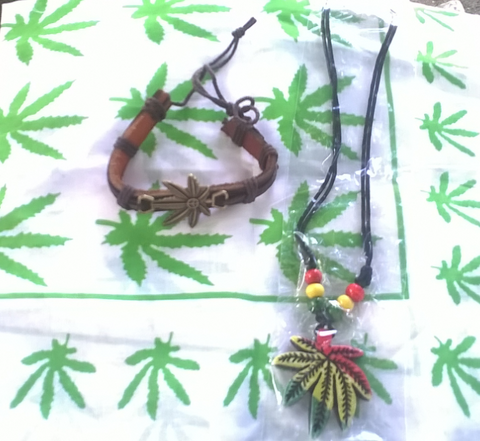 Marijuana Bracelet Necklace & Bandana Bundle