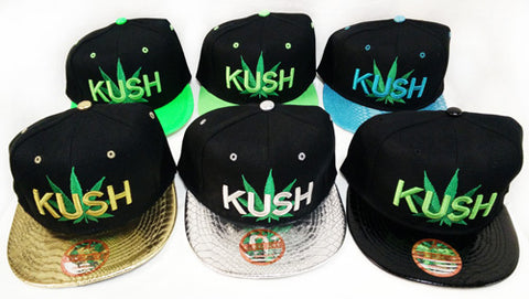 Marijuana Kush Flat Brim Baseball Cap Hat in Various Colors
