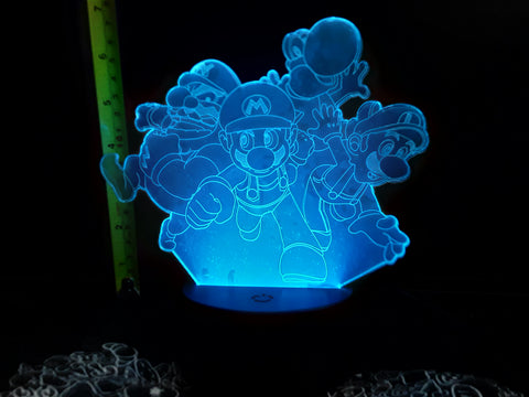 Mario Yoshi Luigi Wario LED Night Light Lamp