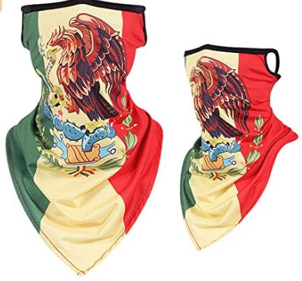 Mexican Golden Eagle Choking Snake Flag Face Mask With Ear Loops
