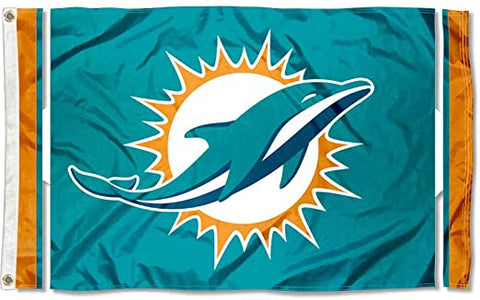 Miami Dolphins 3x5 NFL Polyester Logo Striped Flag