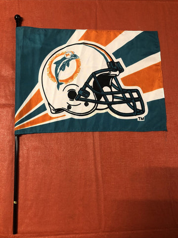 Miami Dolphins NFL Vintage Retro Old Logo 12x18 Flag With Pole
