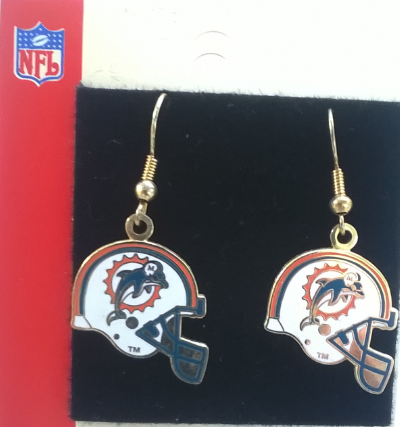 Miami Dolphins Helmet NFL Wire Earrings