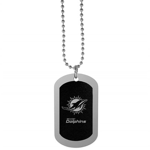 Miami Dolphins NFL Black Chrome Dog Tag Necklace