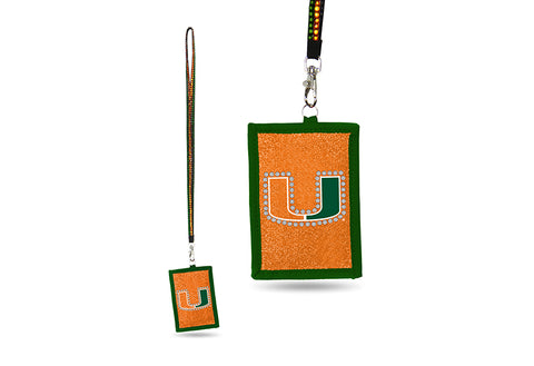 Miami Hurricanes NCAA Lanyard ID Holder With Zippered Compartment