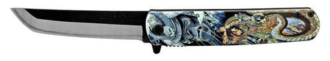 Mini Katana Samurai Dragon 8 inch Inch Spring Assisted Folding Knife  w belt clip