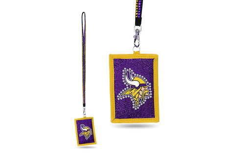 Minnesota Vikings NFL ID Holder Lanyard With Zippered Compartment